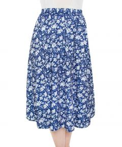 Navy and White Floral Skirt