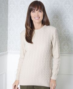 Ladies' Round Neck Cable Jumper