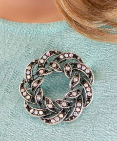 Round Diamante Brooch