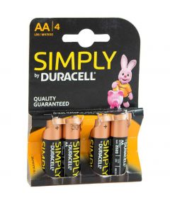 Pack of 4 Duracell Simply AA Batteries