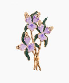 Gold Tone Orchid Brooch