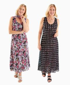 Reversible Dress with Scarf Floral