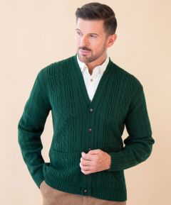Men's Cable Cardigan with Pockets