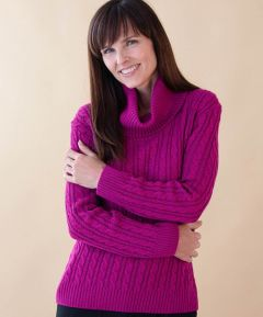 Ladies' Cowl Neck Cable Jumper