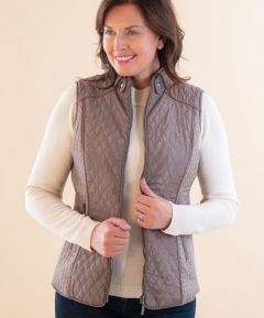 Ladies Quilted Gilet with Elastic Side Panel