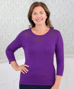 Fine Knit Jumper with Rhinestones