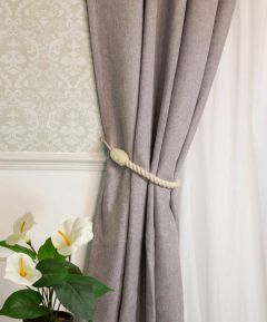 Lined Door Curtain Grey