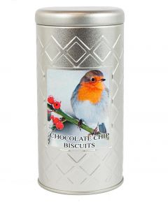 Silver Robin Tin  W/Chocolate Chip Biscuits