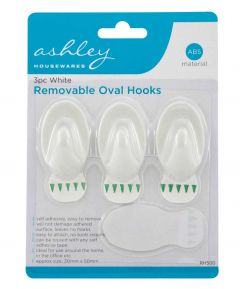 9 Pc White removable Oval Hooks