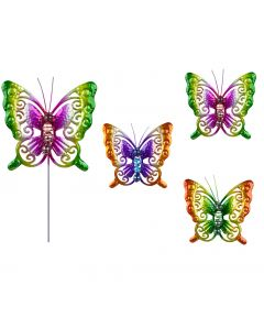 Glass Bead Butterfly Stake x4