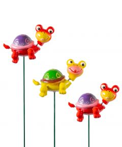 Happy Tortoise On A Stake - Set of 3