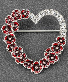 Poppy Diamante Heart Brooch
