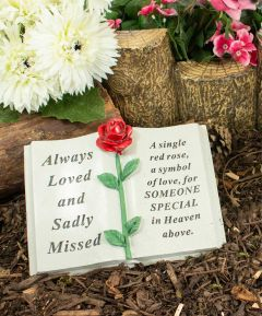 Memorial Book Garden Ornament Red Rose - Someone Special