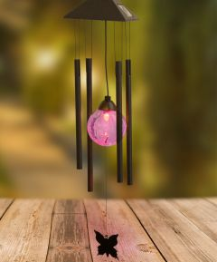 Solar LED Windchime with Butterfly