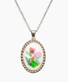 Necklace Gold Tone - Pink Rose