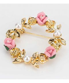 Brooch Gold Tone - Circular Pink & White Flowers