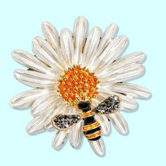 Bee on a Flower Brooch