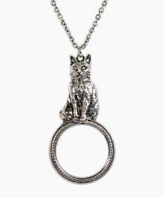 Antiqued Cat Necklace with Magnifier