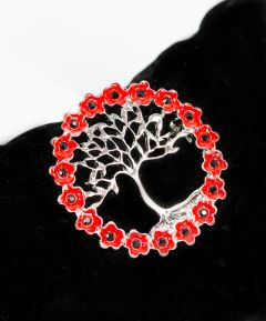 Poppy Tree of Life Brooch
