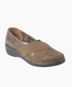 Mary - Ladies Elasticated Criss-Cross Loafer