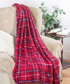 Fleece Throw - Tartan Red