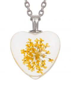 Heart Necklace - Yellow Flower