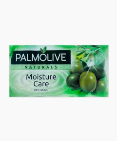 Green Pack of Soap with Large Olives on the Front and Text Says Palmolive Naturals Moisture Care with Olive. Pack Of Four Bars Of Soap.
