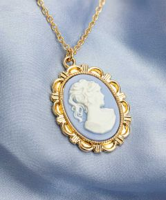 Blue Cameo Necklace - Gold