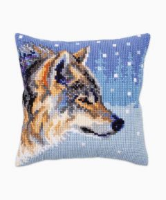 Cross Stitch Cushion : Winter Animal (Wolf)