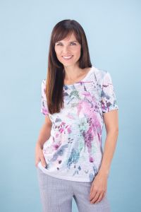 Floral T-shirt with Rhinestones