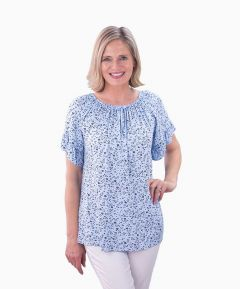 Ladies Floral Gypsy Top One Size (Fits 12-18)