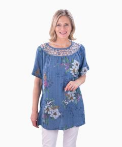 Floral Tunic with Sheer Neckline