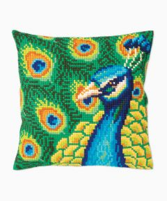 Cross Stitch Cushion : Proud Peacock