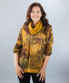 Top with Sequin Hem & Scarf MustardOne Size (To fit 12-20)