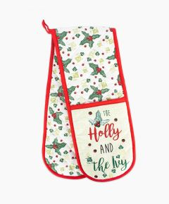 Holly Print Double Oven Glove