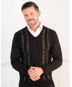 Gent's V-Neck Jumper with Contrasting Cable