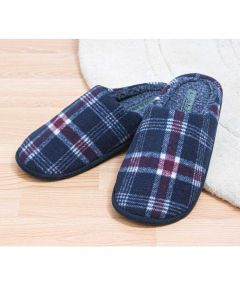 Ronnie - Mens Checked Mule Slipper