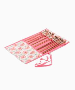 Filled Knitting Needle Roll: Blossoming Trellis