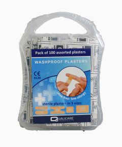 Qualicare Washproof Plasters - Pack of 100 Assorted.