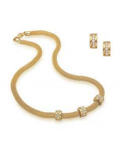 Gold Tone Mesh Necklace and Earring Set