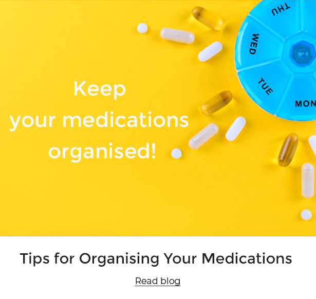 Assorted medications on a yellow background.