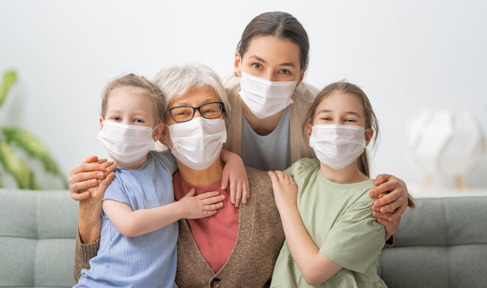 A family wearing masks.
