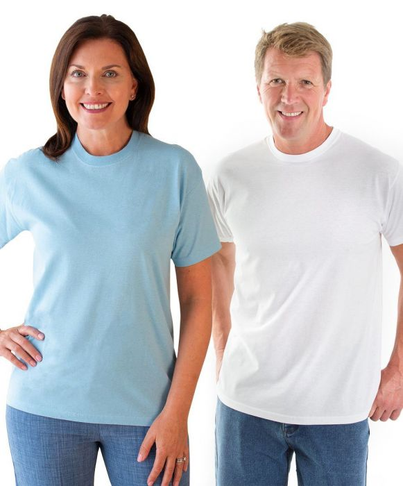 Two people wearing t-shirts; one blue, one white.