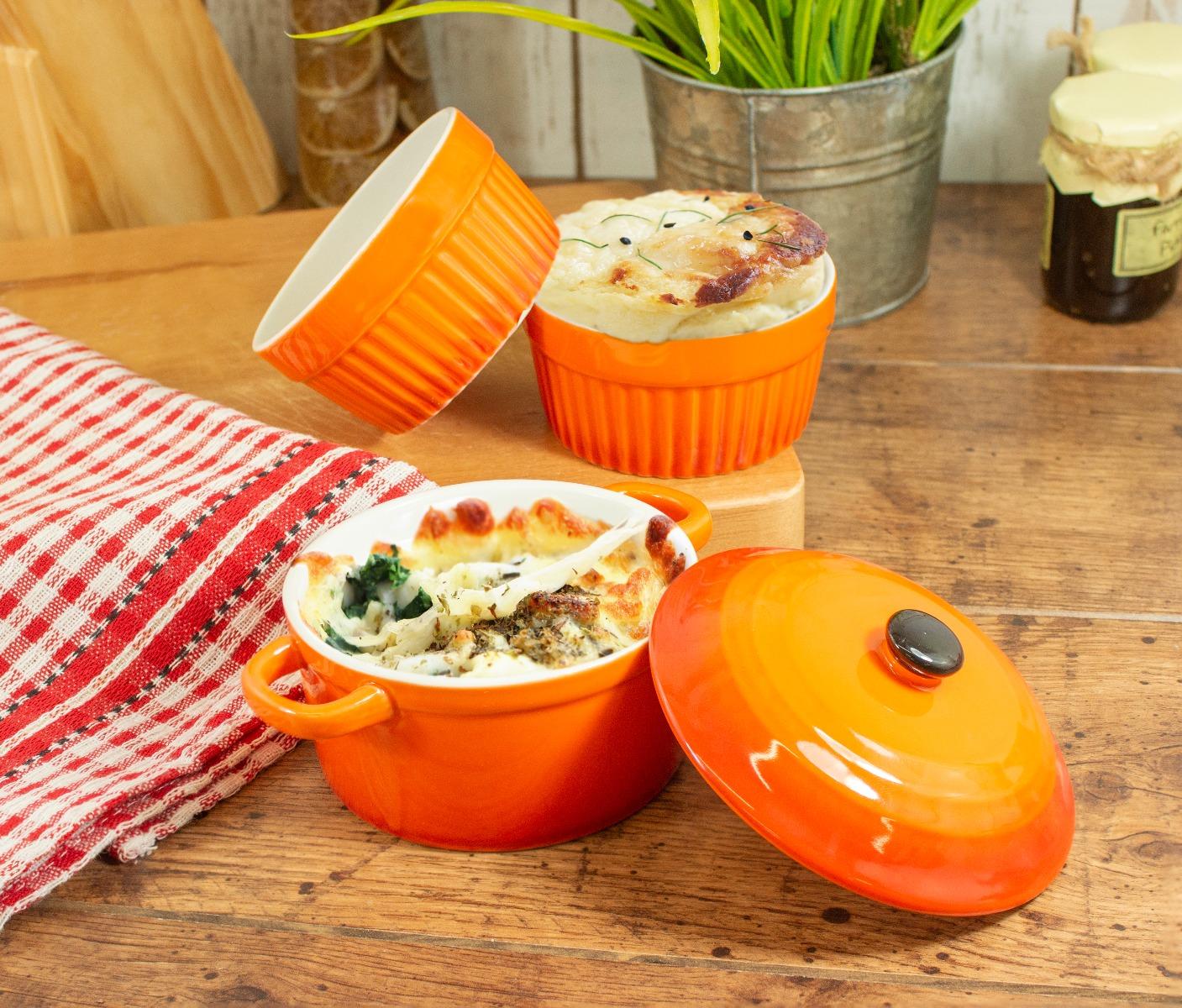 An orange oven bakeware set.