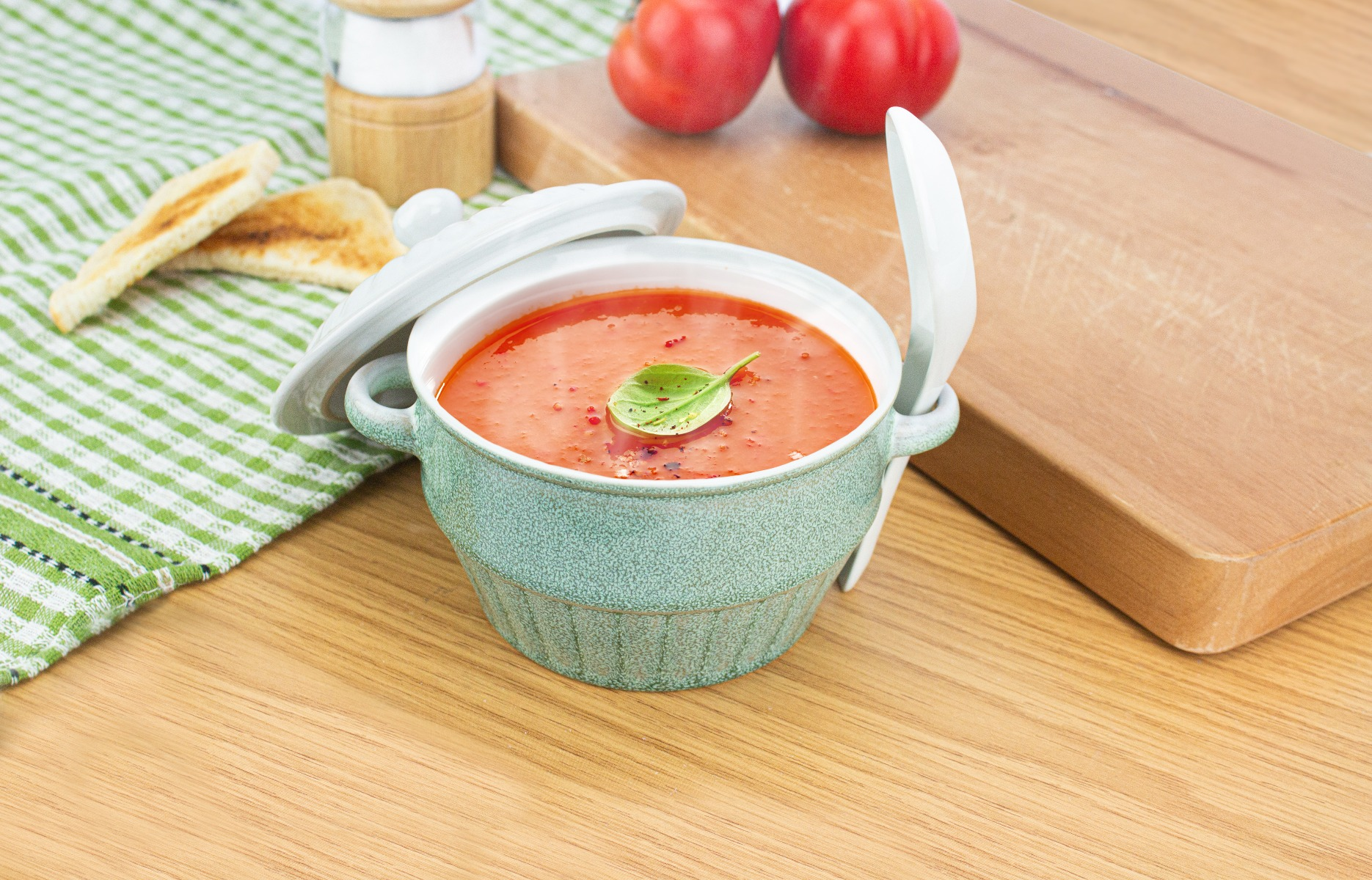 A glazed soup bowl.