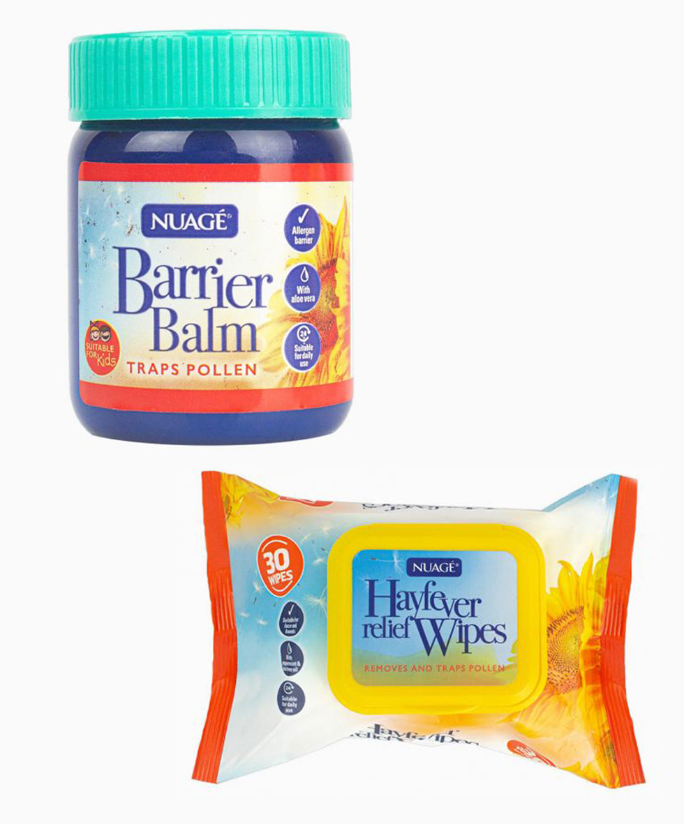 A pot of hay fever relief balm and some hay fever relief wipes.